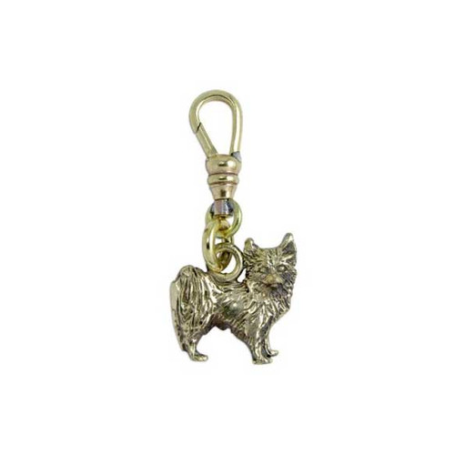 Chihuahua Brass Zipper Pull - Long Hair