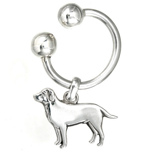 U Key Chain with Dog Silver