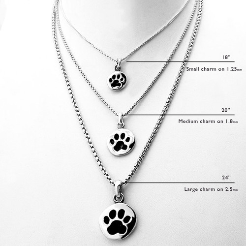 Sterling silver rounded box chain necklace for charms dog charm rounded box chain necklace 18mm aloadofball Gallery