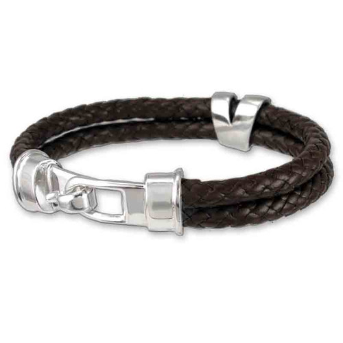 Hook Clasp Braided Leather Bracelet for men and women