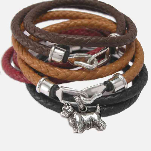 Cairn Terrier Leather Wrap Bracelet with Sterling Silver Hook Clasp and Charm color selection, Lisa Greene | FineARF