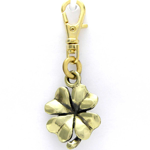 Four Leaf Clover or Shamrock Brass Zipper Pull Charm front