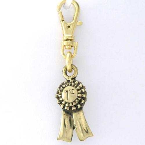 First Place Ribbon Brass Zipper Pull