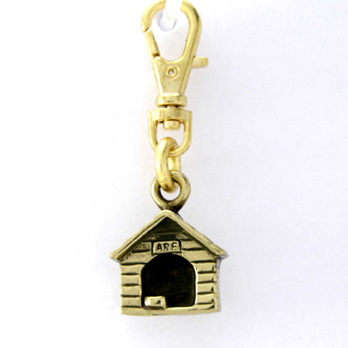 Brass Dog House Zipper Pull - front