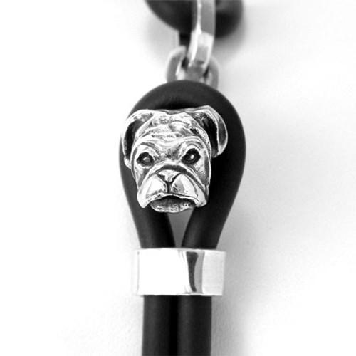 Bull Dog Silver and Rubber Bracelet