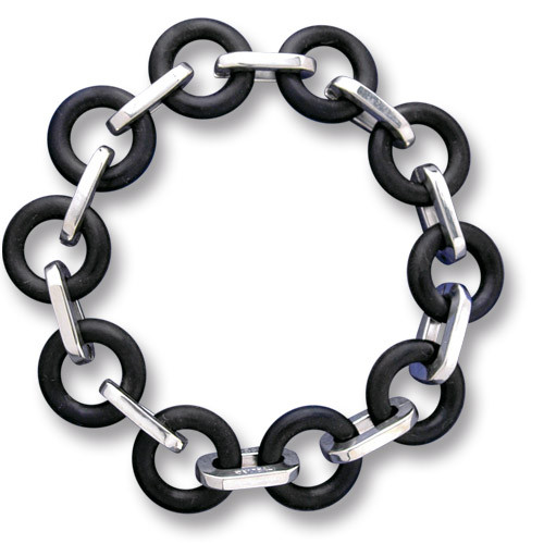 Metro Silver and Rubber Link Bracelet