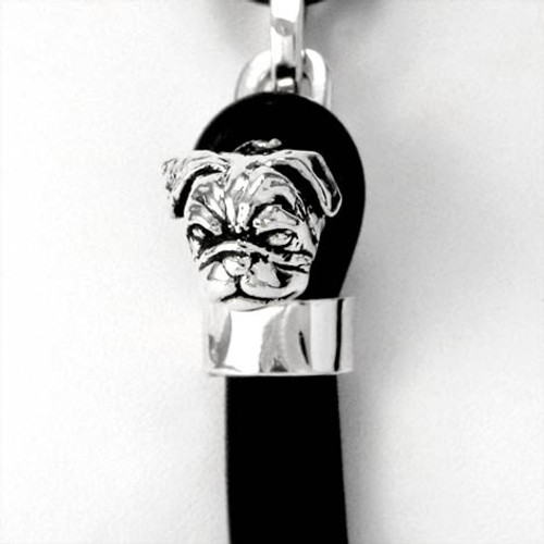 Pug Silver and Rubber Bracelet