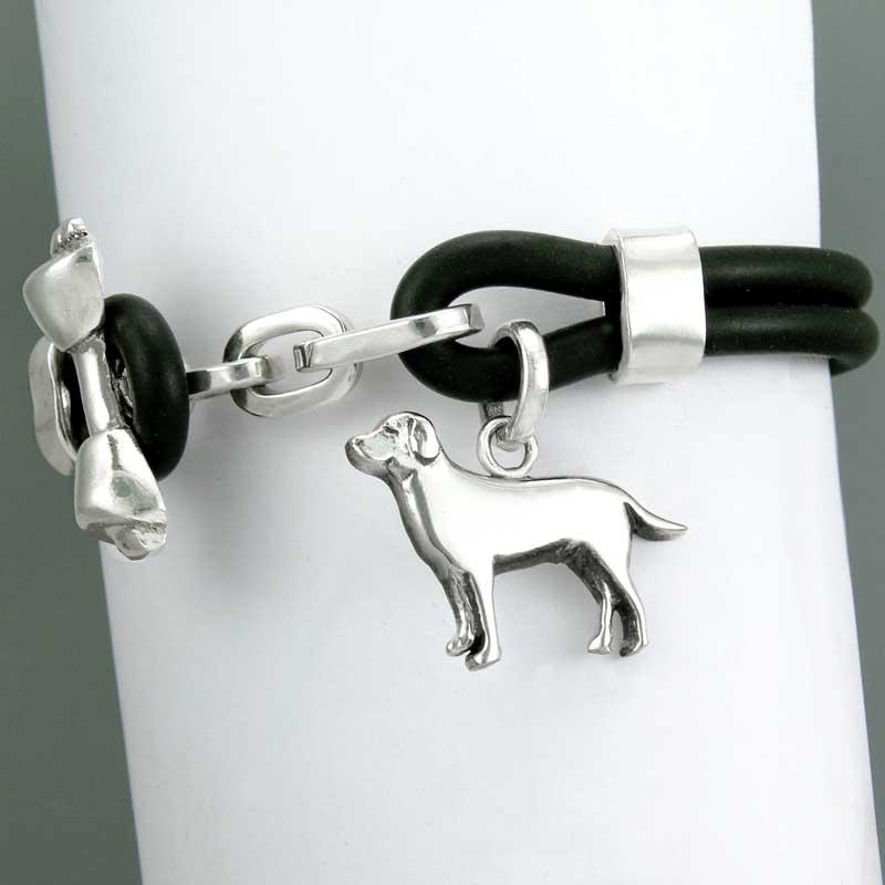 Rubber Bracelet with Silver Labrador Medium