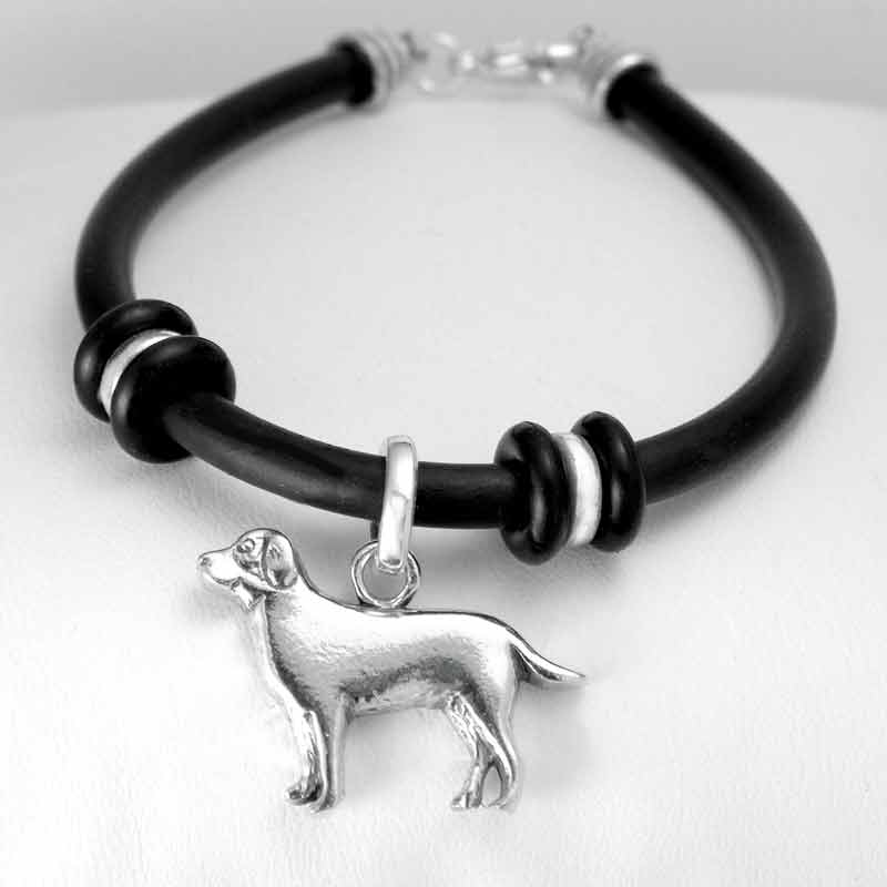 Rubber Bracelet with Silver Labrador Medium