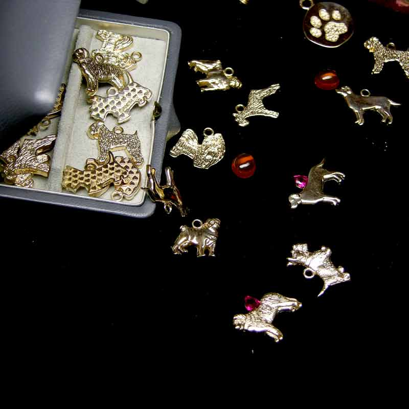 Gold Dog Charms and stones