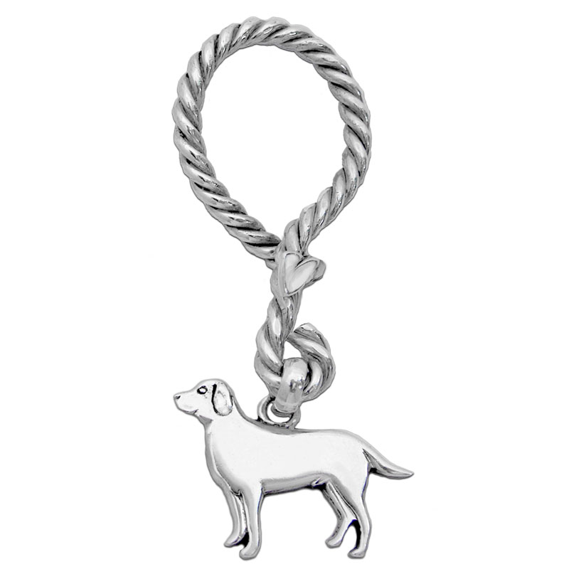 Silver Nautical Keychain with Labrador