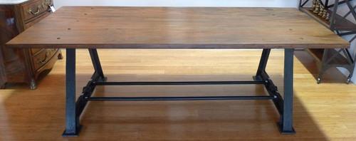 HARRINGTON & CO INDUSTRIAL CAST IRON BASE & SOLID TIMBER TOP TABLE / DESK - 230CM X 96CM X 76CM