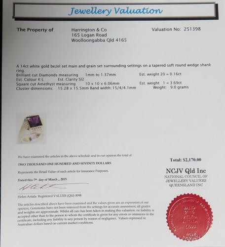 STUNNING 14CT WHITE GOLD AMETHYST & DIAMOND RING - VAL $2170
