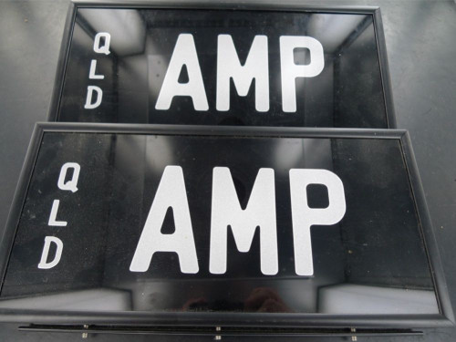 RARE QUEENSLAND REGO NUMBER PLATE  AMP  NEVER FITTED, NEAR MINT, FRONT & BACK