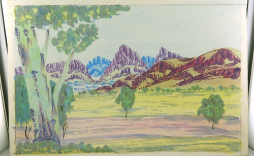 CONLEY EBATARINJA (1959-2013) SIGNED HERMANNSBURG WATERCOLOUR ON BOARD.