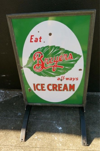 RARE BREYERS ICE CREAM USA DOUBLE SIDED STANDING ADVERTISING ENAMEL SIGN