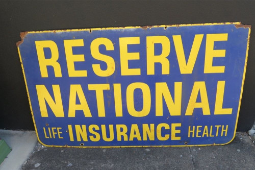 RESERVE NATIONAL INSURANCE LARGE Enamel DOUBLE SIDED ADVERTISING SIGN 1.38 x 82