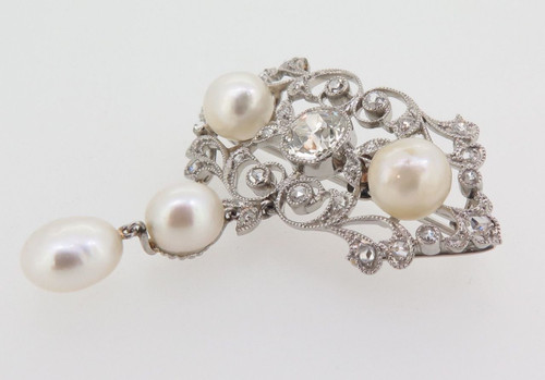 ANTIQUE PLATINUM 1.25CT G/H SI OLD CUT DIAMOND NATURAL PEARL BROOCH VAL $54000