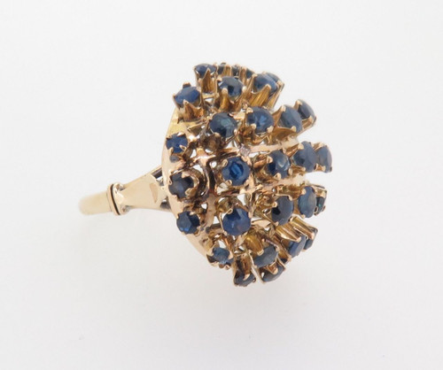14CT YELLOW GOLD BLUE SAPPHIRE CLUSTER DOME DRESS RING VAL $6900