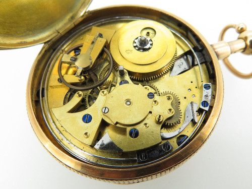 A stunning 19th C French push 1/4 repeating 18k gold pocket watch, working