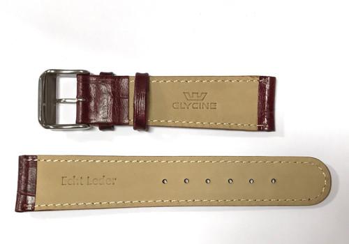 20mm German made burgundy leather strap & Steel buckle by Glycine