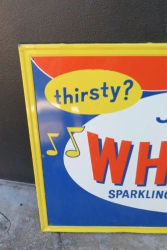 LARGE AMERICAN WHISTLE SODA EMBOSSED TIN SIGN