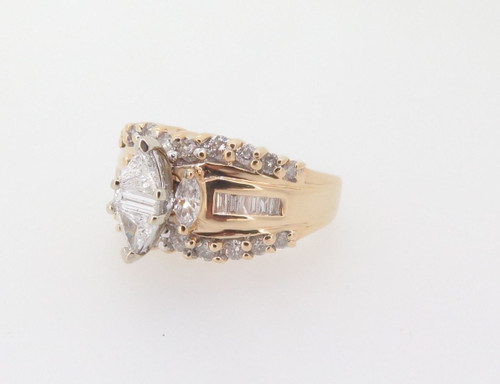 Two Trilliant & Baguette Cut Diamond 1.16ct Cluster 14k Gold Ring Val $5850