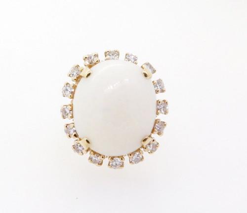 Vintage Opal & Diamond 14k Yellow Gold Ladies Halo Ring Size F Val $3970