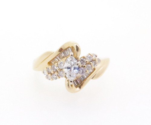 0.70ct Diamond Set 14k Yellow Gold Ladies Cluster Ring Size M Val $4245