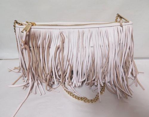 Rebecca Minkoff baby pink shoulder bag with tassels