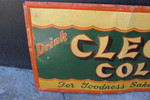 """SUPER RARE 1930's AMERICAN """"CLEO COLA"""" VERY LARGE EMBOSSED TIN SIGN."""