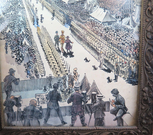"WW1 superb pen & ink wash ""Egyptian Gazette, Royal Artillery Inspection Parade""."