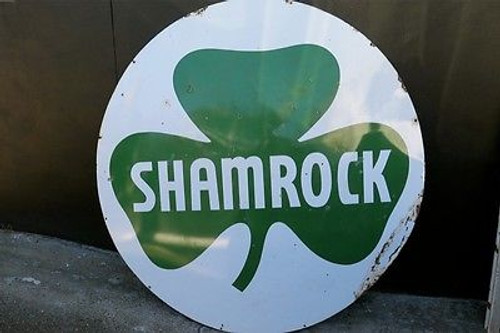 OLD SIGNS BOUGHT & SOLD BRISBANE SUPER RARE C.1949 MASSIVE 6FT AMERICAN SHAMROCK GAS COMPANY DOUBLE SIDED ENAMEL SIGN.