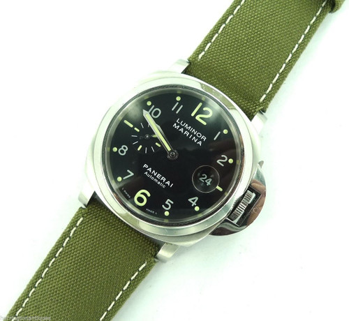 24MM HIGH GRADE MILITARY STYLE CANVAS & LEATHER STRAP, STEEL BUCKLE BY GLYCINE # D
