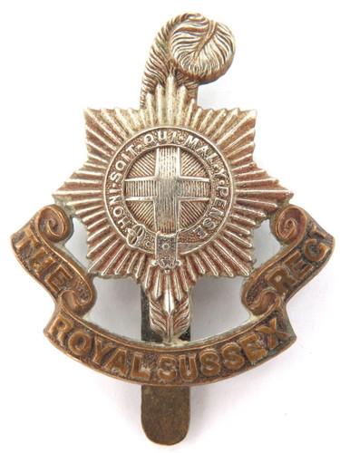 VINTAGE BRITISH MILITARY BI-METAL THE ROYAL SUSSEX REGT BADGE WITH SLIDER.