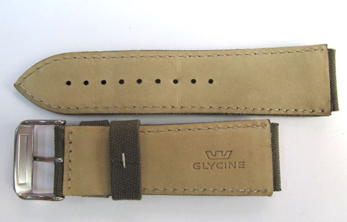 24MM GERMAN MADE GREEN CAMO STYLE CANVAS & LEATHER STRAP BY GLYCINE # A