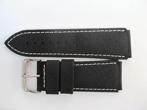 24MM HIGH GRADE GERMAN BLACK CANVAS STRAP & STEEL BUCKLE BY GLYCINE BRISBANE Harrington Vintage Watch Strap Woolloongabba