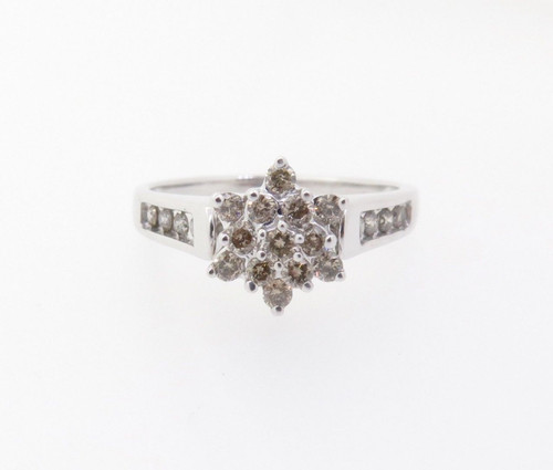 0.50ct Diamond Cluster 10k White Gold Ring Size N Val $1830