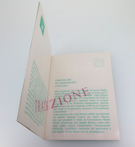 ROLEX TRANSLATION BOOKLET IN NICE CONDITION. 565.00.5W