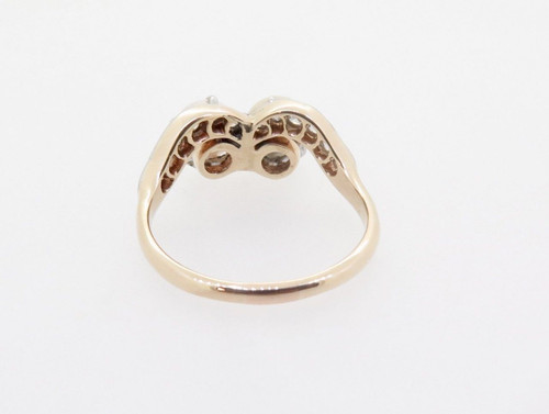 Vintage Natural Pearl & Old Cut Diamond 14k Gold Platinum Ring Size N Val $2965