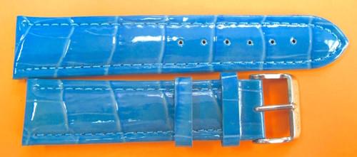 22MM GENUINE GLYCINE BLUE GLOSS LEATHER STRAP & STEEL BUCKLE BY GLYCINE  BRISBANE Harrington Vintage Watch Strap Woolloongabba
