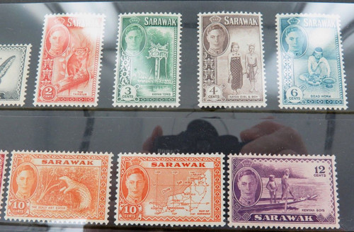 GOOD SELECTION VINTAGE SARAWAK STAMPS, MANY MINT. $5, $2, $1. SET FROM 1c - $5.