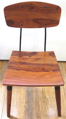 HEAVY SET / SOLID POLISHED TIMBER / METAL FRAMED INDUSTRIAL STYLE CHAIRS.