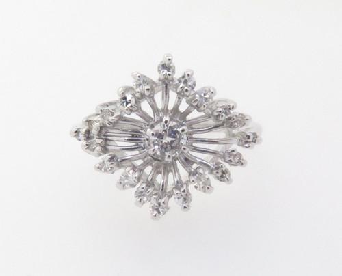 0.40ct Diamond Claw Set 14k White Gold Dress Ring Size O Val $2635