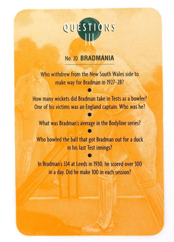 "RARE DON BRADMAN LARGE FORMAT GAME / QUIZ CARD. ""BRADMANIA"" QUESTIONS & ANSWERS"