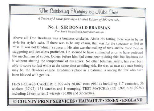 1994 DON BRADMAN LIMITED EDITION LARGE FORMAT CARD & COA. THE CRICKETING KNIGHTS