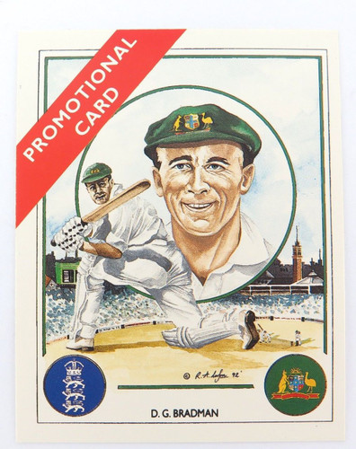 """c1992 SCARCE DON BRADMAN TRADING CARD. """"ASHES WINNING CAPTAINS"""" PROMOTIONAL CARD"""