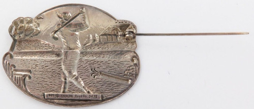 EXTREMELY NICE / VINTAGE / LARGE STERLING SILVER GOLFING BROOCH.