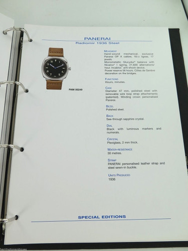 VINTAGE HUGE PANERAI DEALERS CATALOGUE- ONE ONLY A MUST FOR ANY COLLECTOR