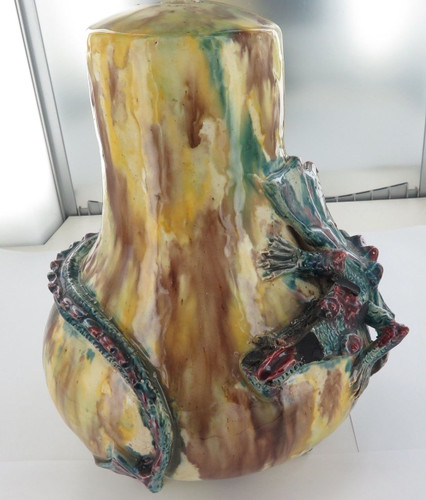 "SUPER RARE / HUGE / ATTRIBUTED TO HARVEY SCHOOL POTTERY ""DRAGON WARE"" LAMP BASE."
